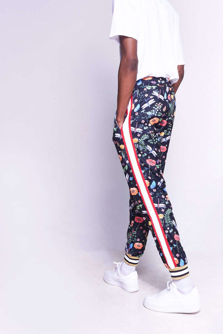 Printed Floral Skinny Joggers With Side Stripes