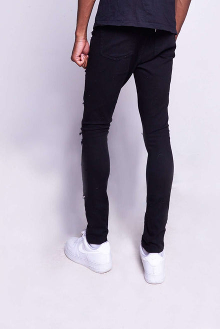 Black Super Skinny Jeans With Extreme Rips