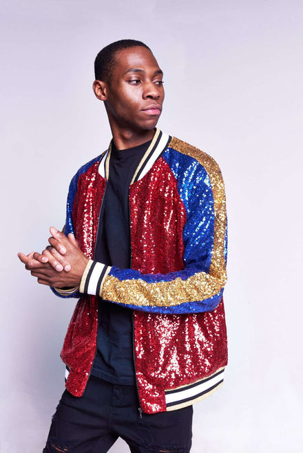 Blue Red & Gold Sequin Bomber