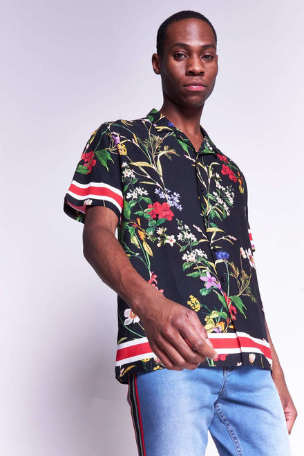 Black Floral Short Sleeve Viscose Shirt