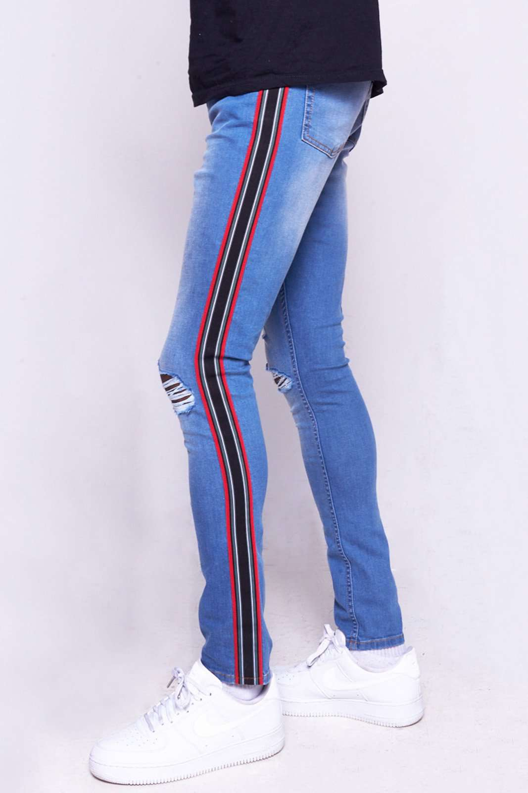 Blue Ripped Super Skinny Jeans With Taping