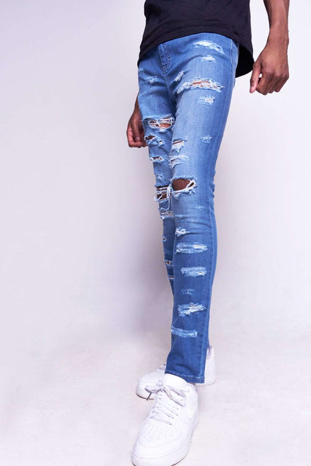 Blue Super Skinny Jeans With Extreme Rips