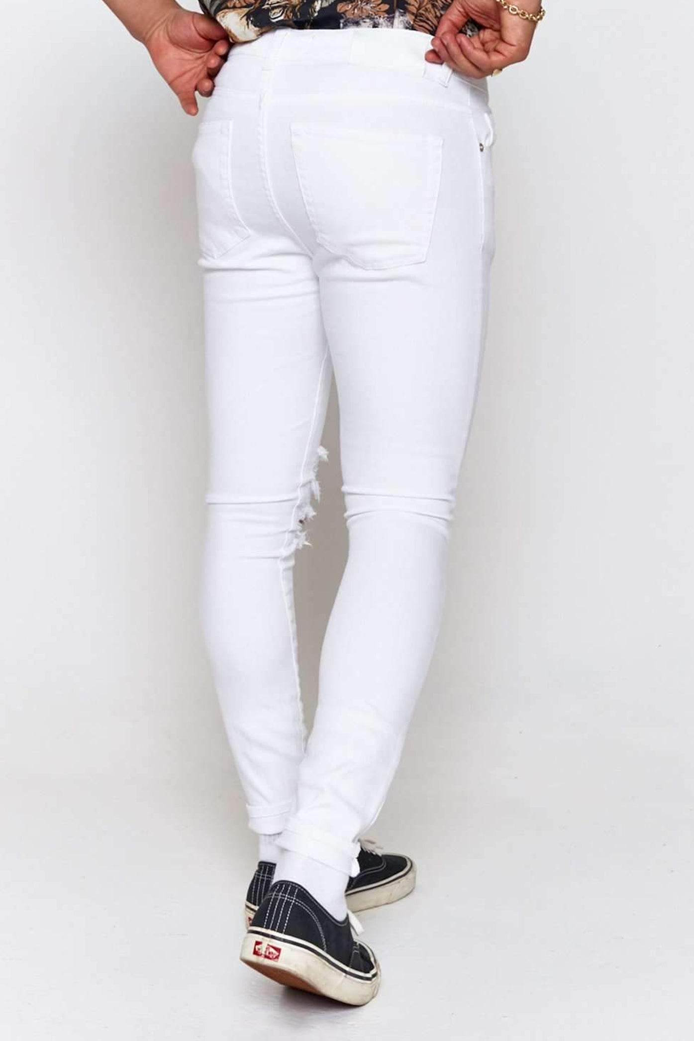 White Super Skinny Jeans With Rips