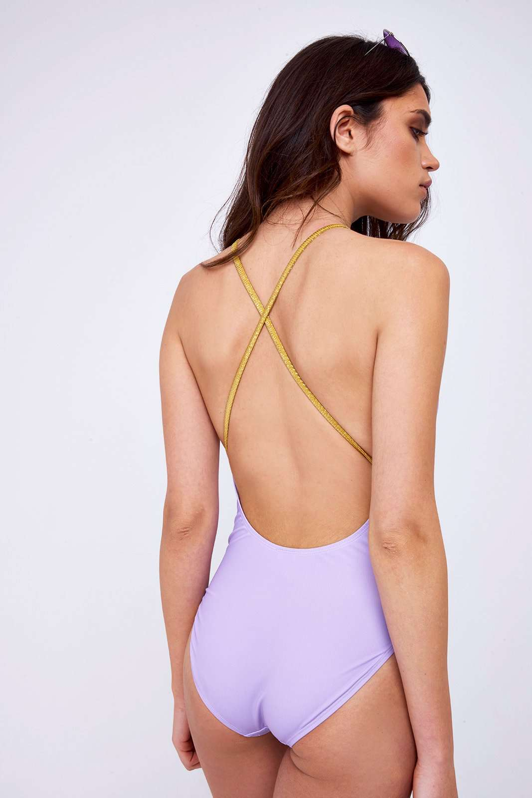 Lilac Bee High Neck Swimsuit