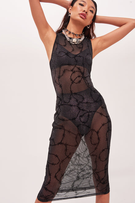 Black Mesh Barbed Wire Glitter Midi Dress
