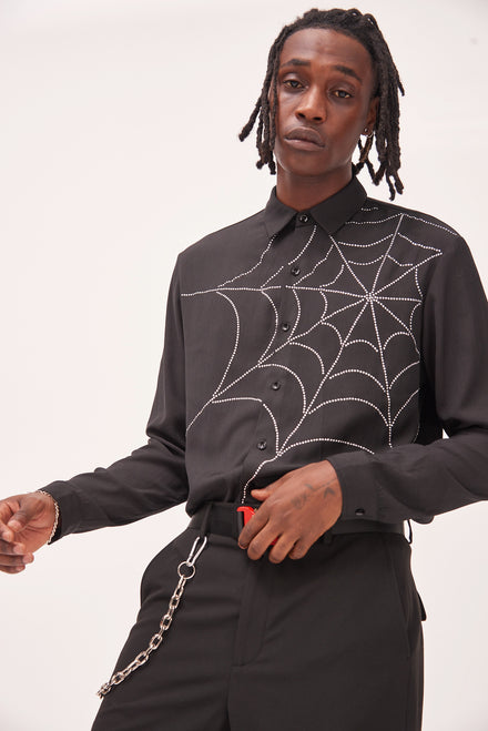 Diamante Spider Web Long Sleeve Shirt