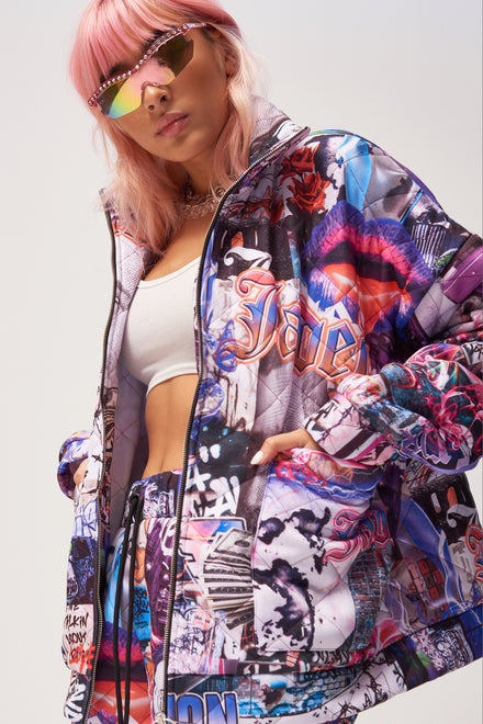 Lips Collage Print Quilted Jacket