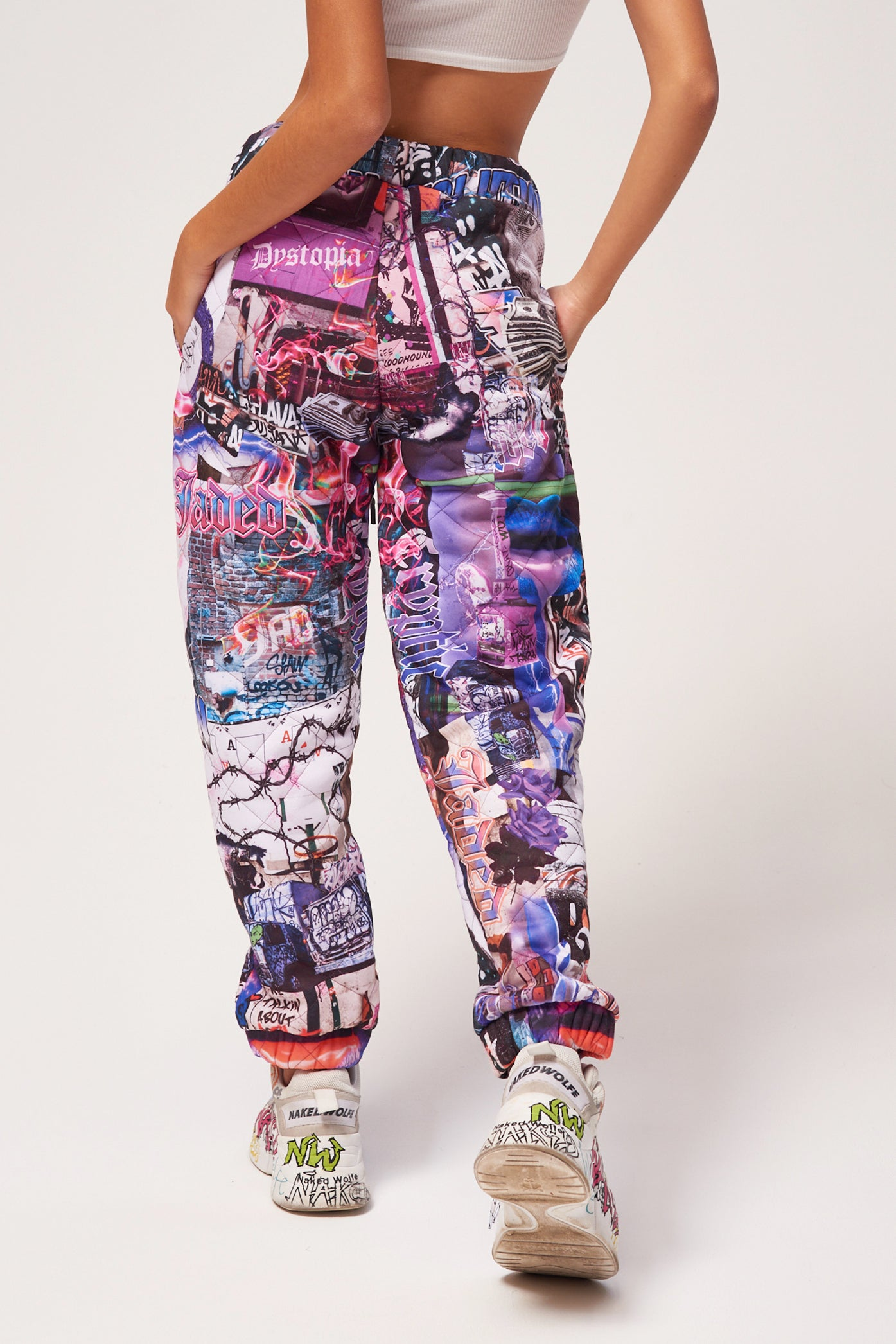 Lips Collage Print Quilted Joggers