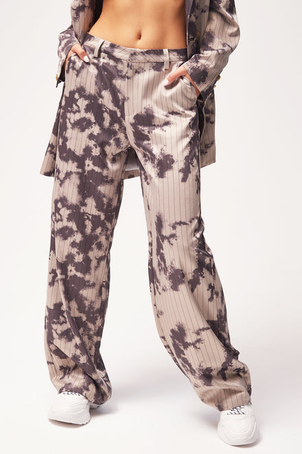 Relaxed Fit Pinstripe Bleached Wide Leg Trousers