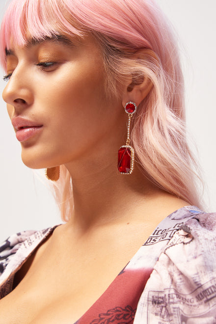 Red Gem Drop Earrings