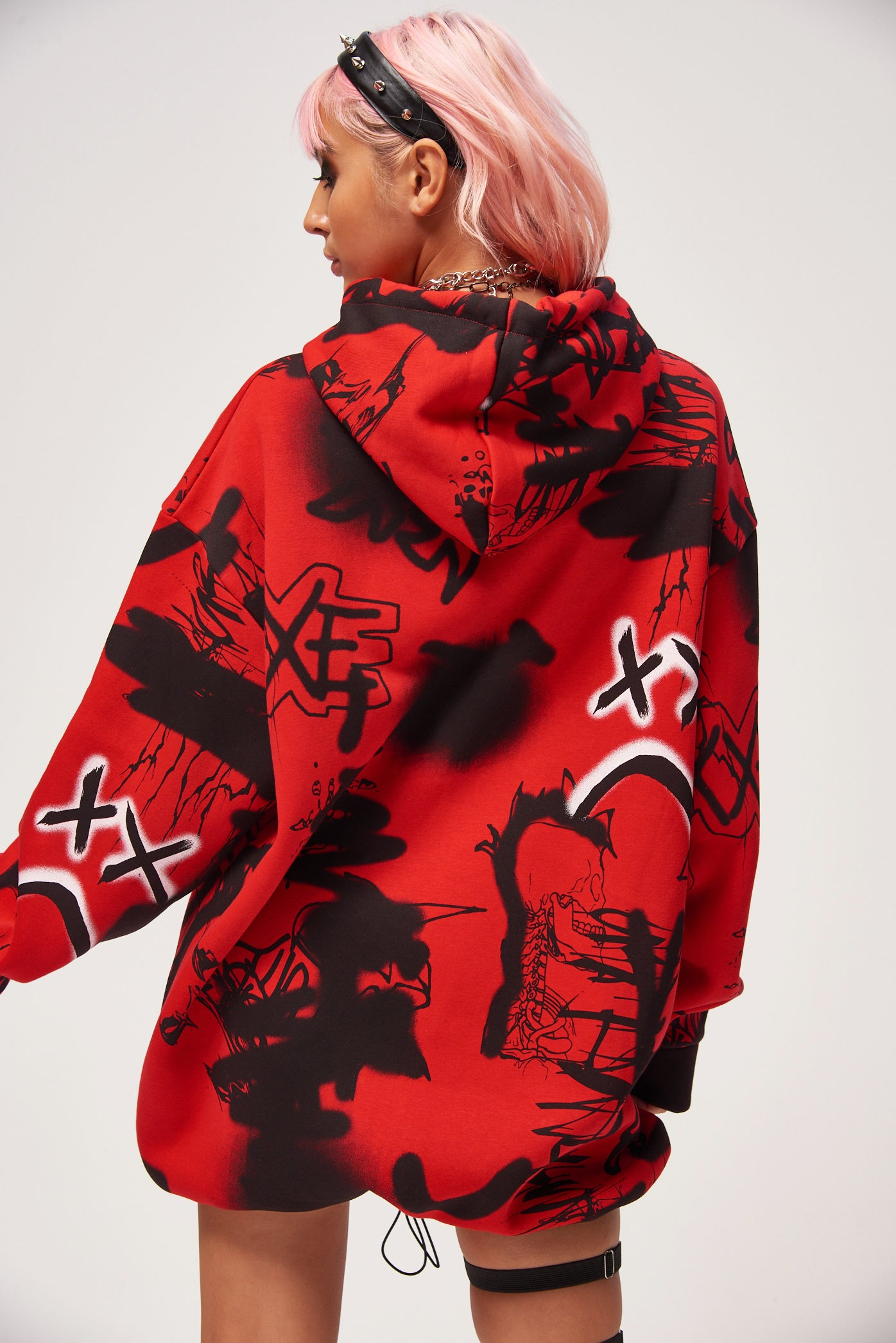 Graffiti Print Oversized Hoodie Dress