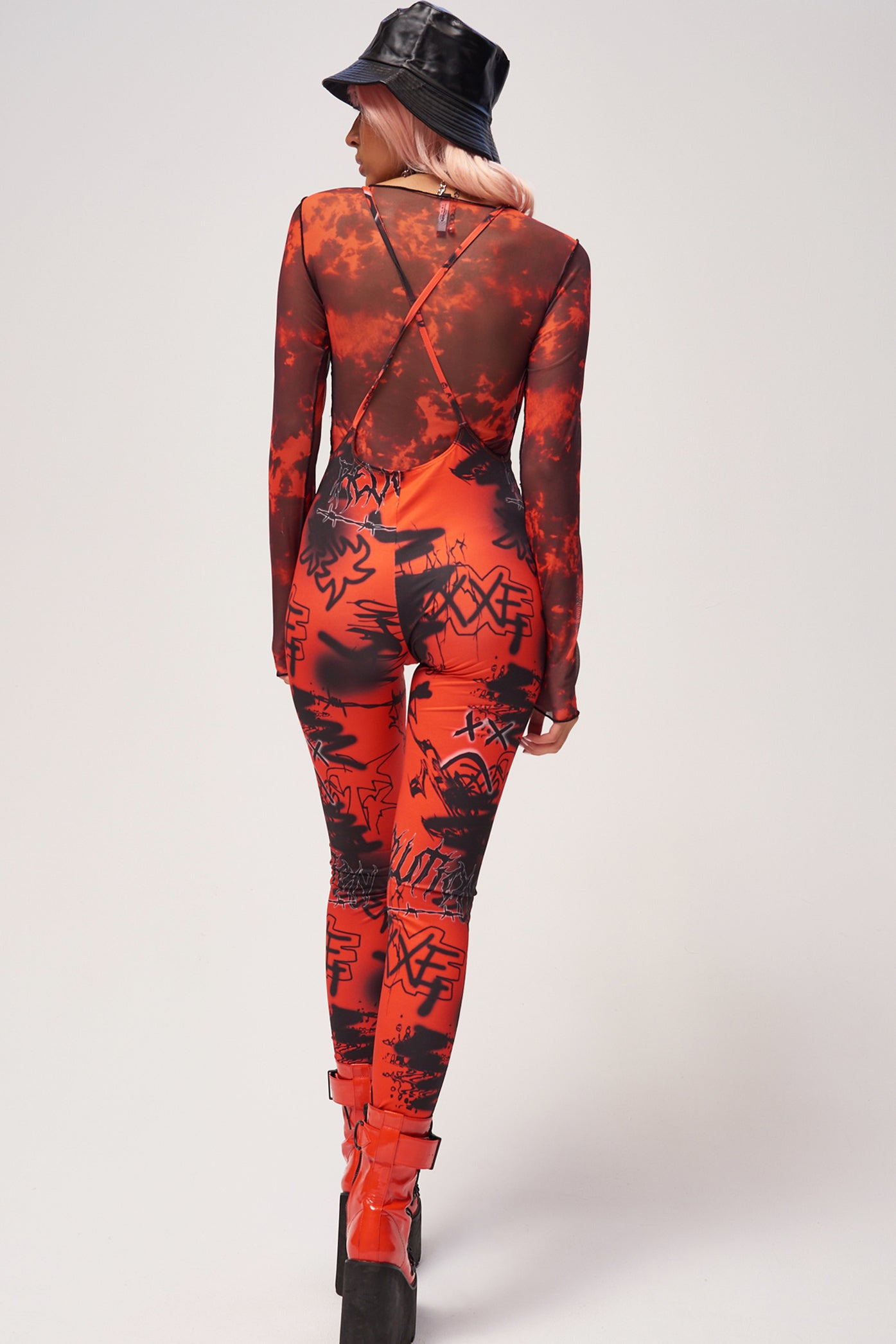 Red & Black Graffiti Print Square Neck Catsuit