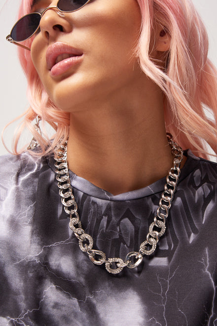 Silver Diamante Chain Necklace