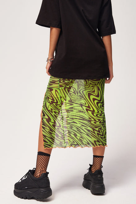 Neon Green Psychedelic Printed Midi Skirt