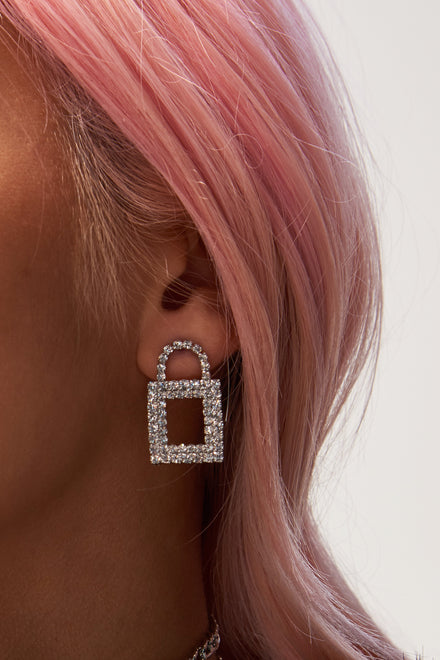 Diamante Padlock Earrings