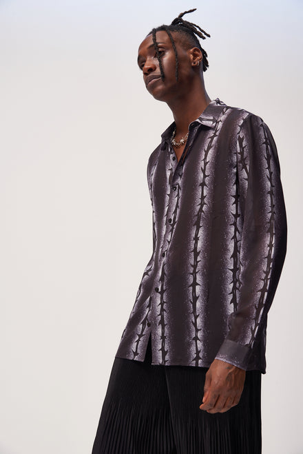 Sprayed Barbed Wire Print Chiffon Shirt