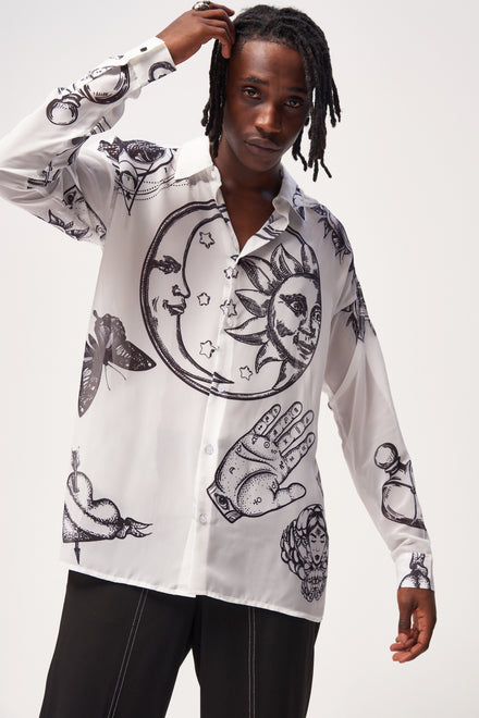 White Mystic Tattoo Print Long Sleeve Chiffon Shirt