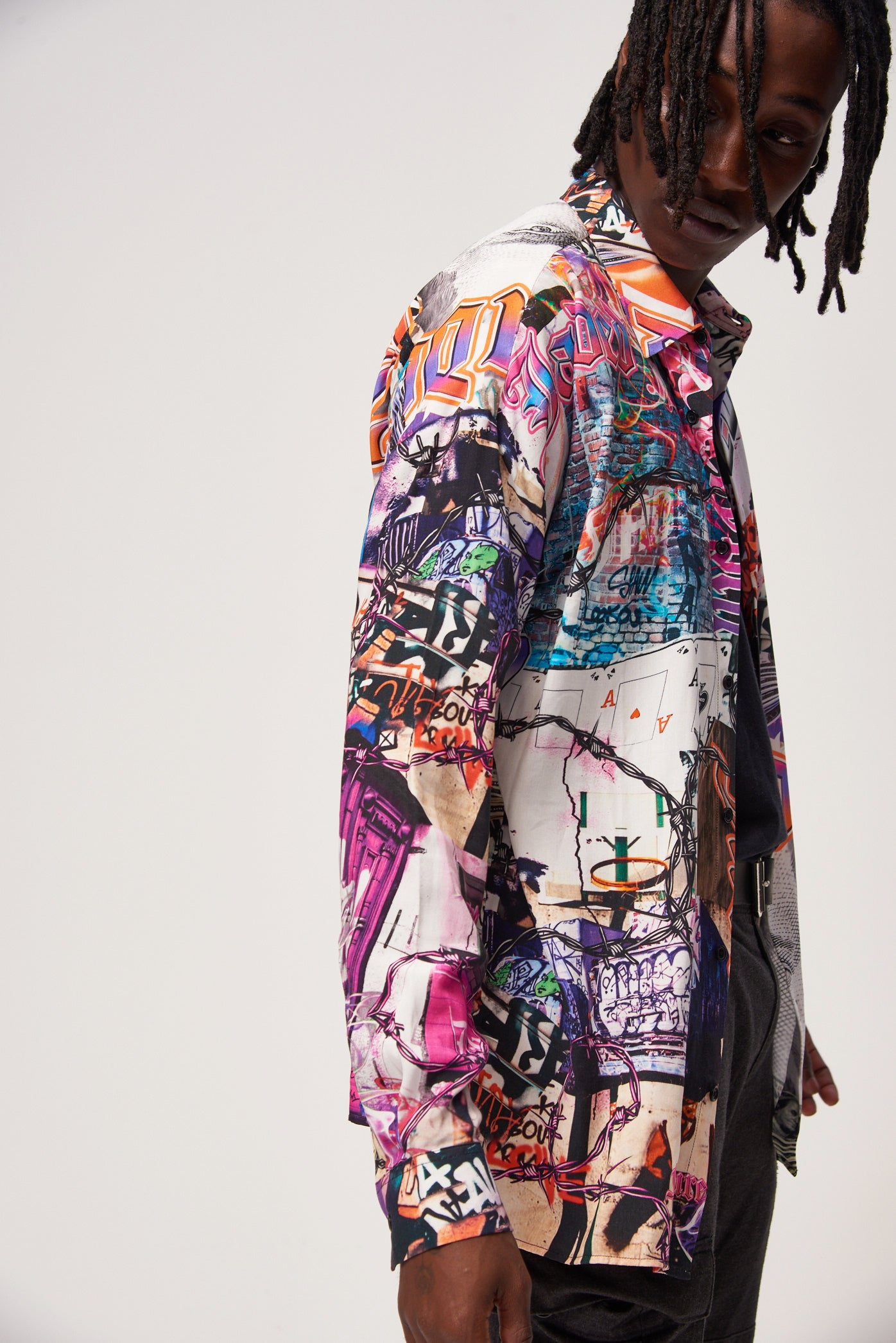 Graffiti Mash Up Print Long Sleeve Shirt