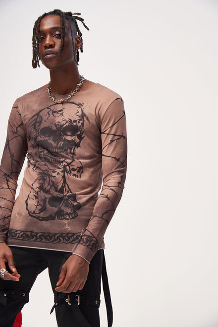 Gothic Print Long Sleeve Mesh Crew Neck