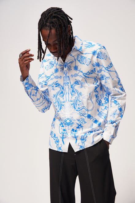 Blue Vintage Tattoo Print Long Sleeve Shirt