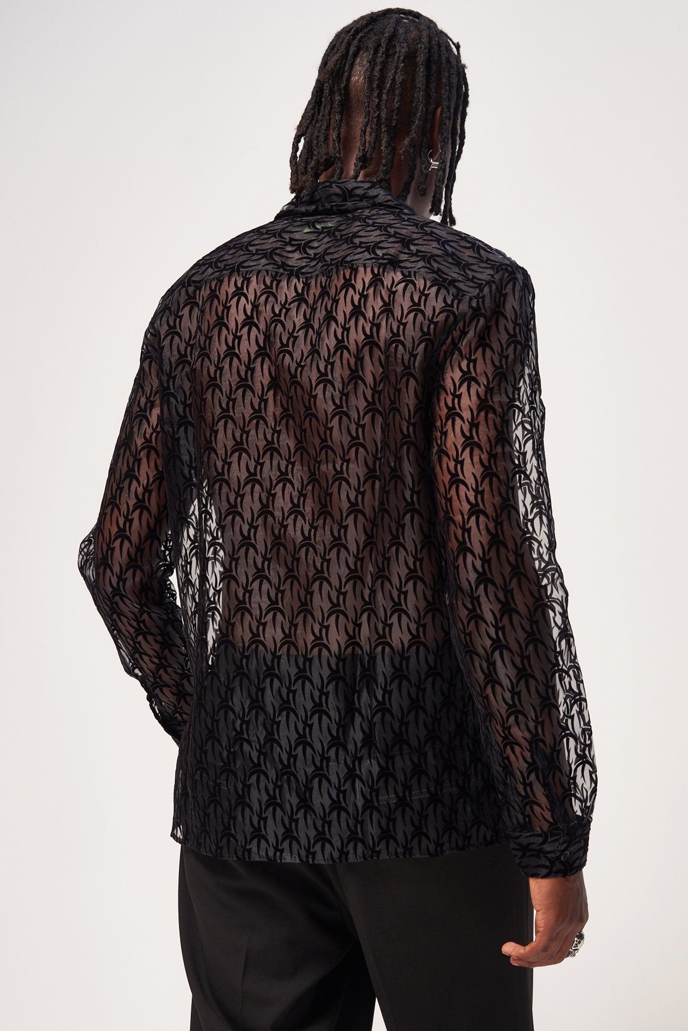 Black Tribal Flock Organza Long Sleeve Shirt