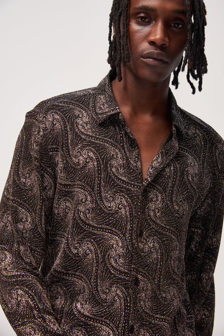 Black Glitter Paisley Long Sleeve Shirt