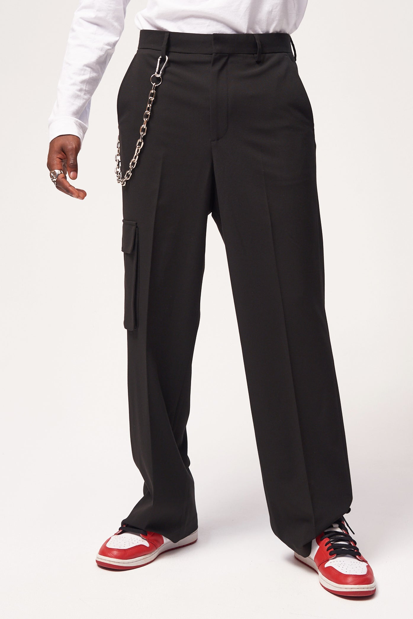 Black Skate Fit Trousers With Utility Pockets