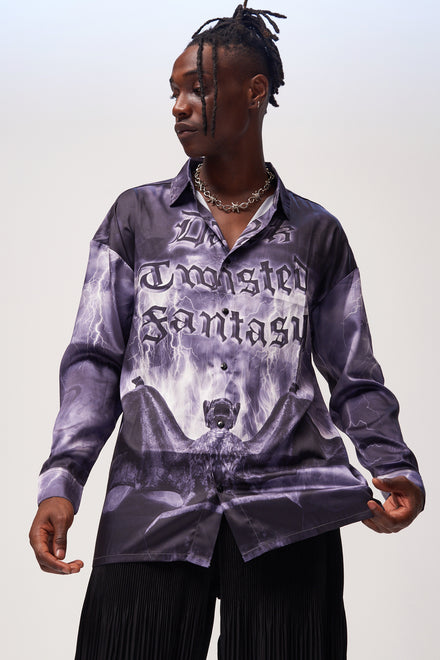 Gothic Night Print Long Sleeve Shirt