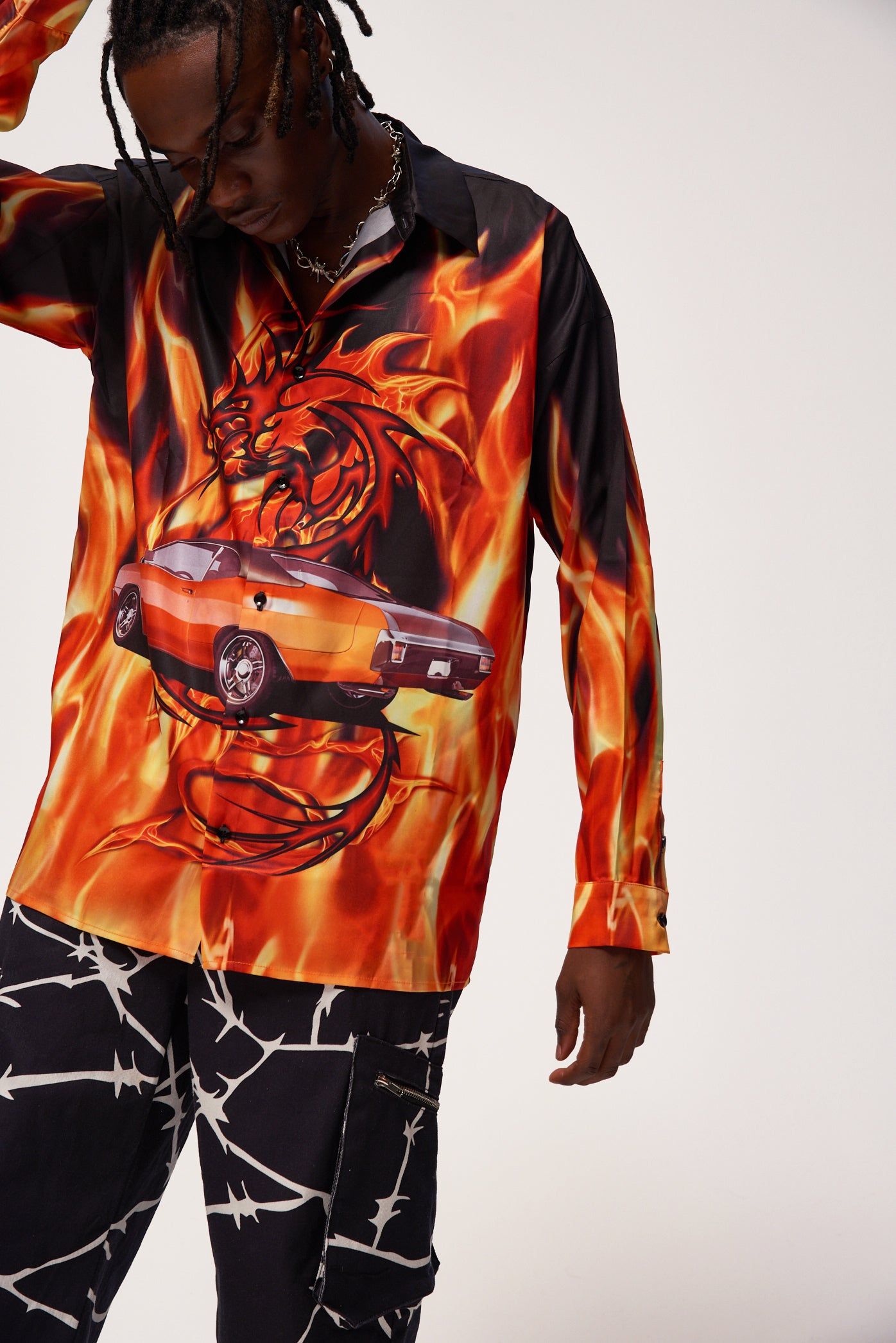 Flaming Car Print Long Sleeve Shirt