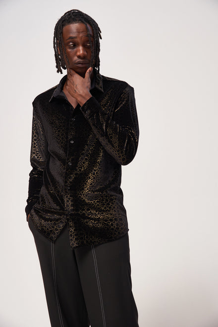 Gold Foil Crocodile Print Velvet Shirt