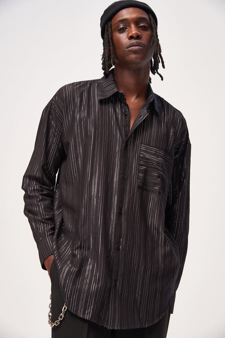 Black Metallic Pinstripe Long Sleeve Shirt