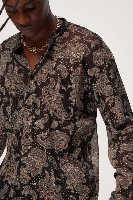 Paisley Glitter Long Sleeve Shirt