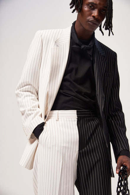 Spliced Black & White Pinstripe Blazer
