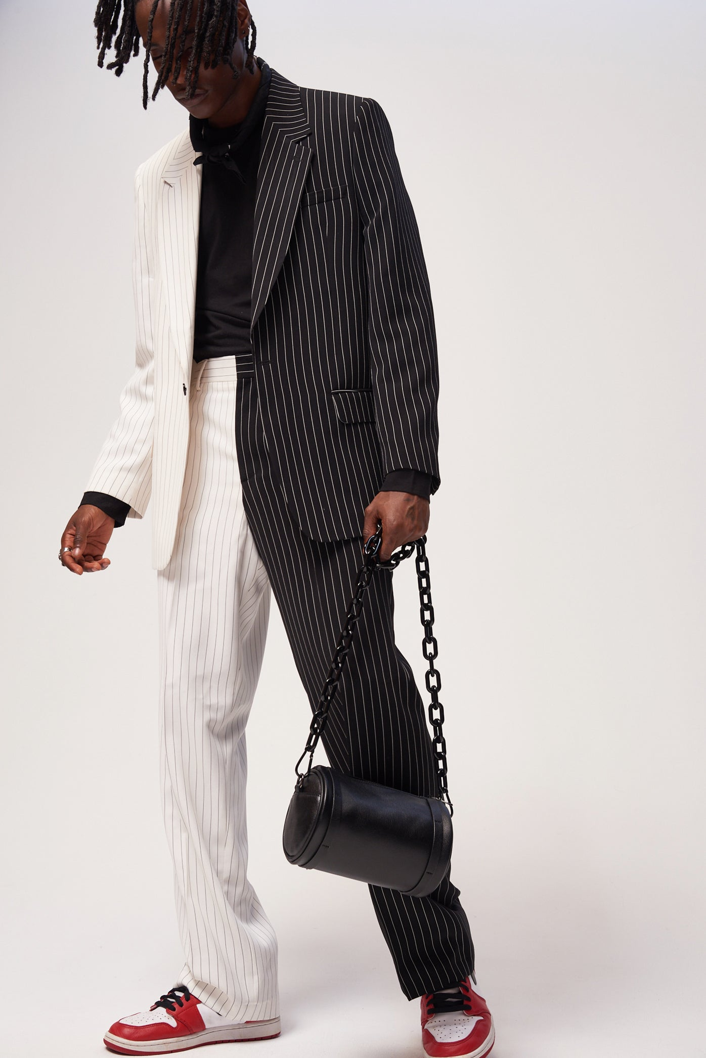 Spliced Black & White Pinstripe Suit Trousers