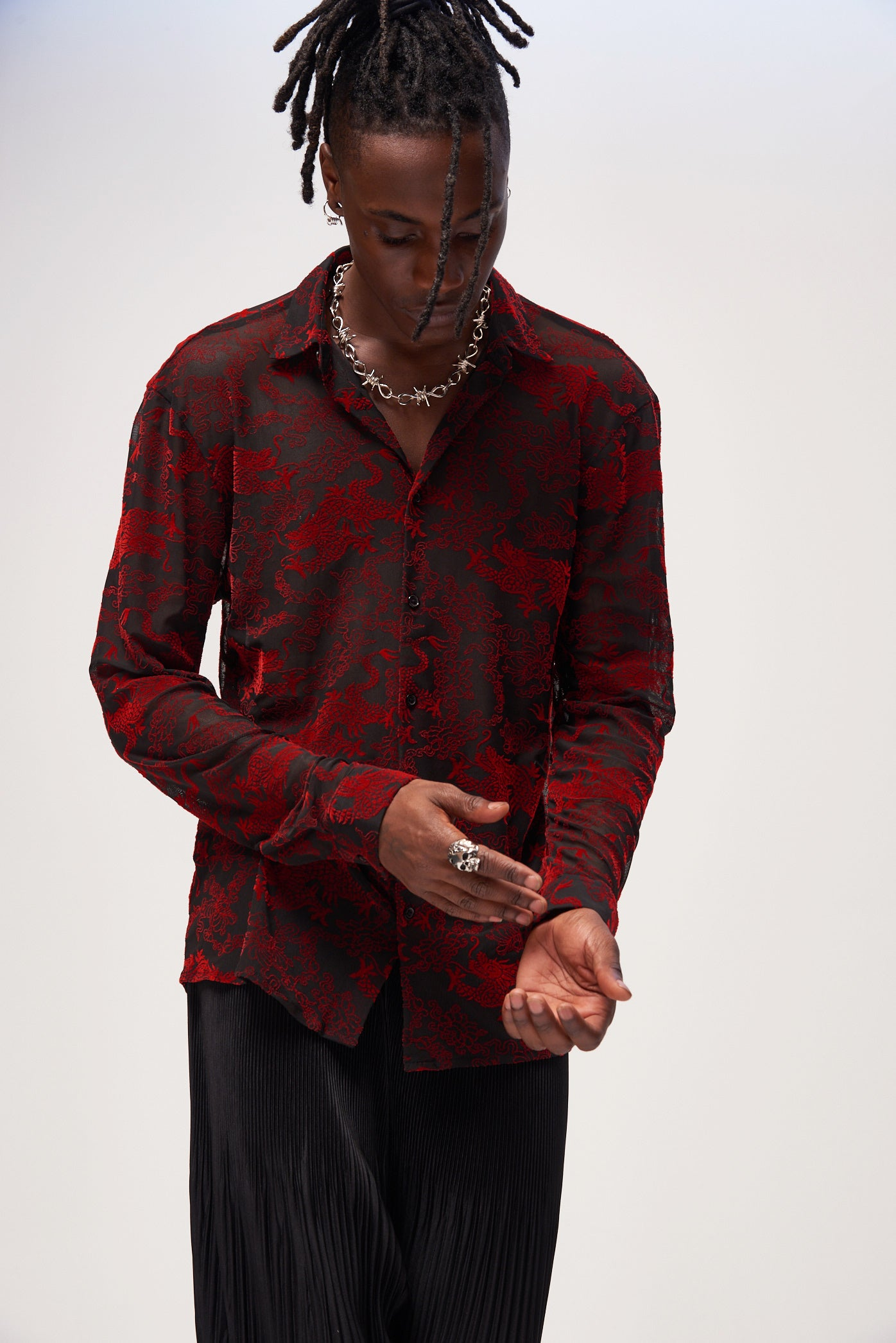 Black Mesh Shirt With Red Flocked Dragon