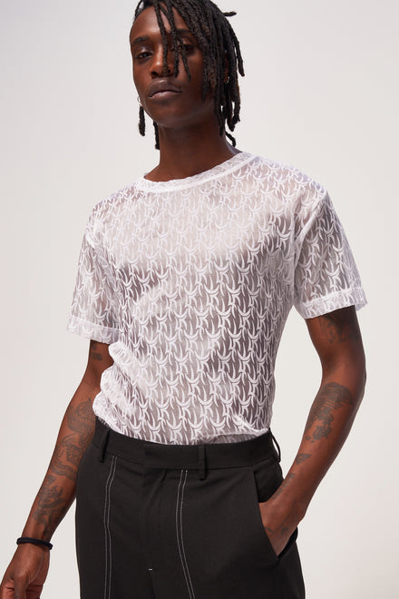 White Tribal Flock Organza T-Shirt