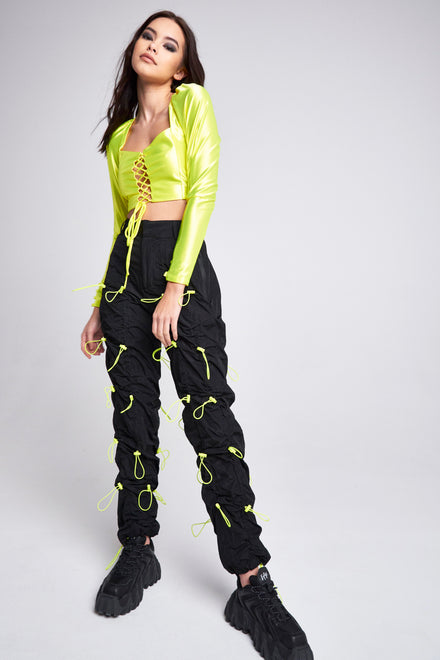 Black Cargo Trousers With Neon Toggle Detail