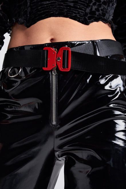 Black Industrial Belt With Red Buckle