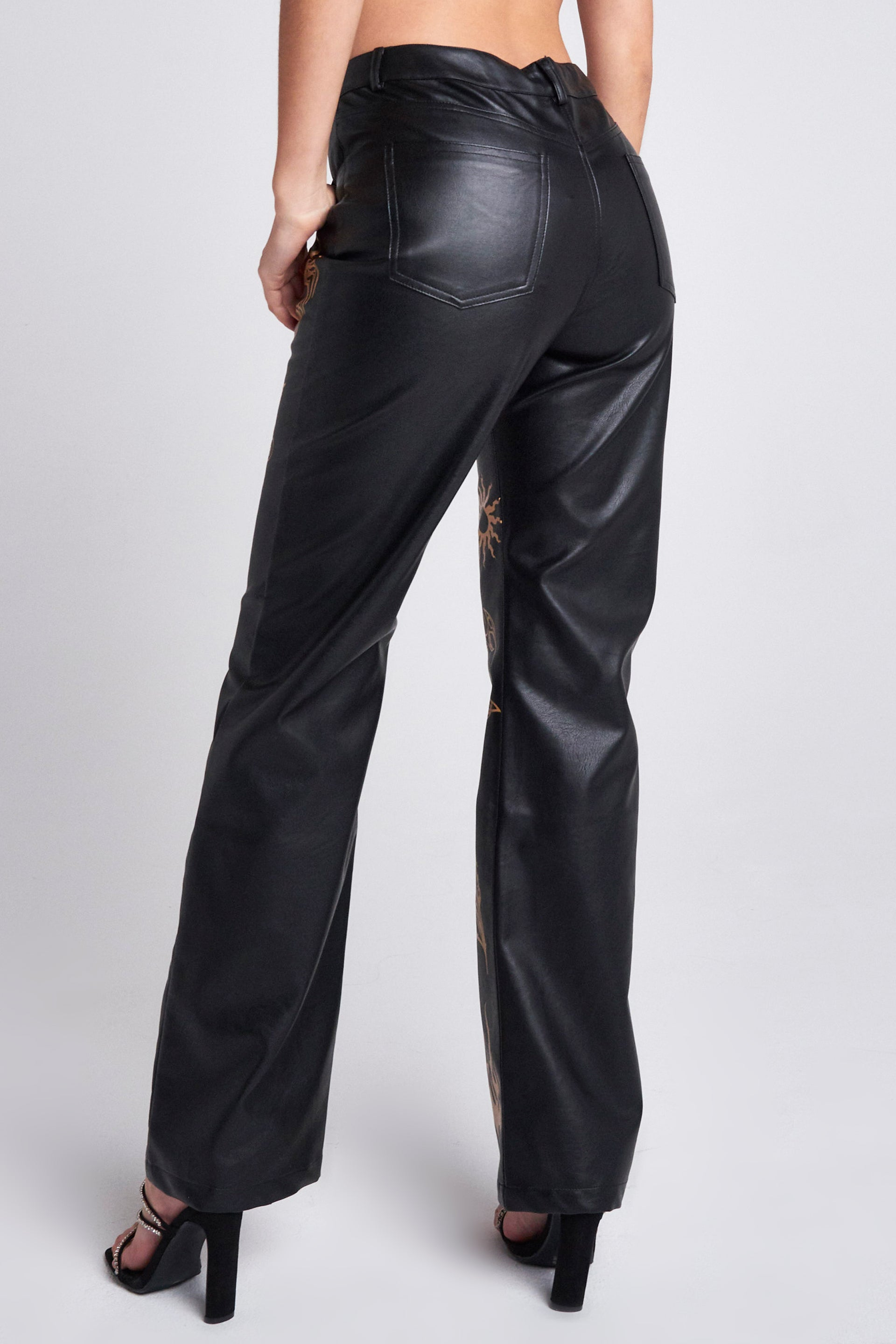 Black Vegan Leather Boyfriend Fit Trousers With Tan Tattoo Detail