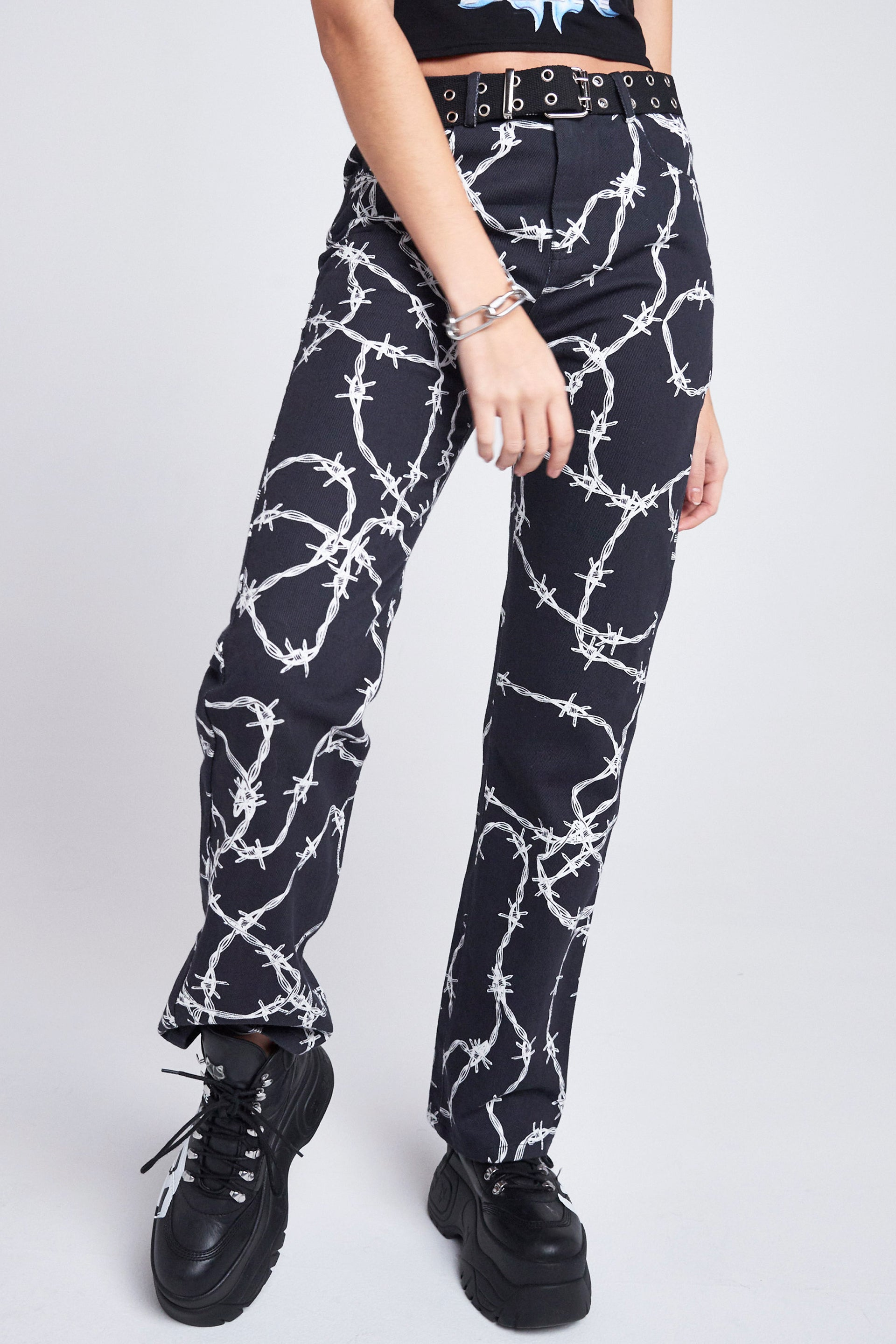 Barbed Wire Print Boyfriend Jeans