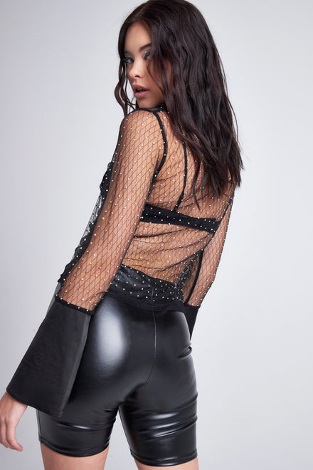 Diamante Long Sleeve Mesh Shirt