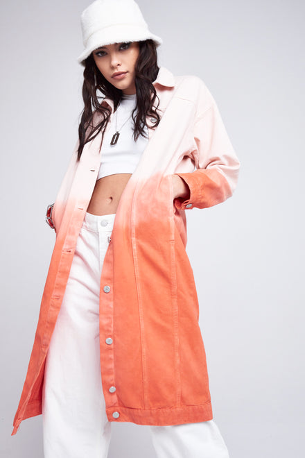 Red Ombre Oversized Denim Coat