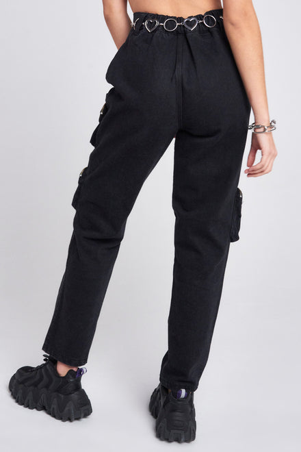 Black Cargo Jeans With Round Pocket Detail