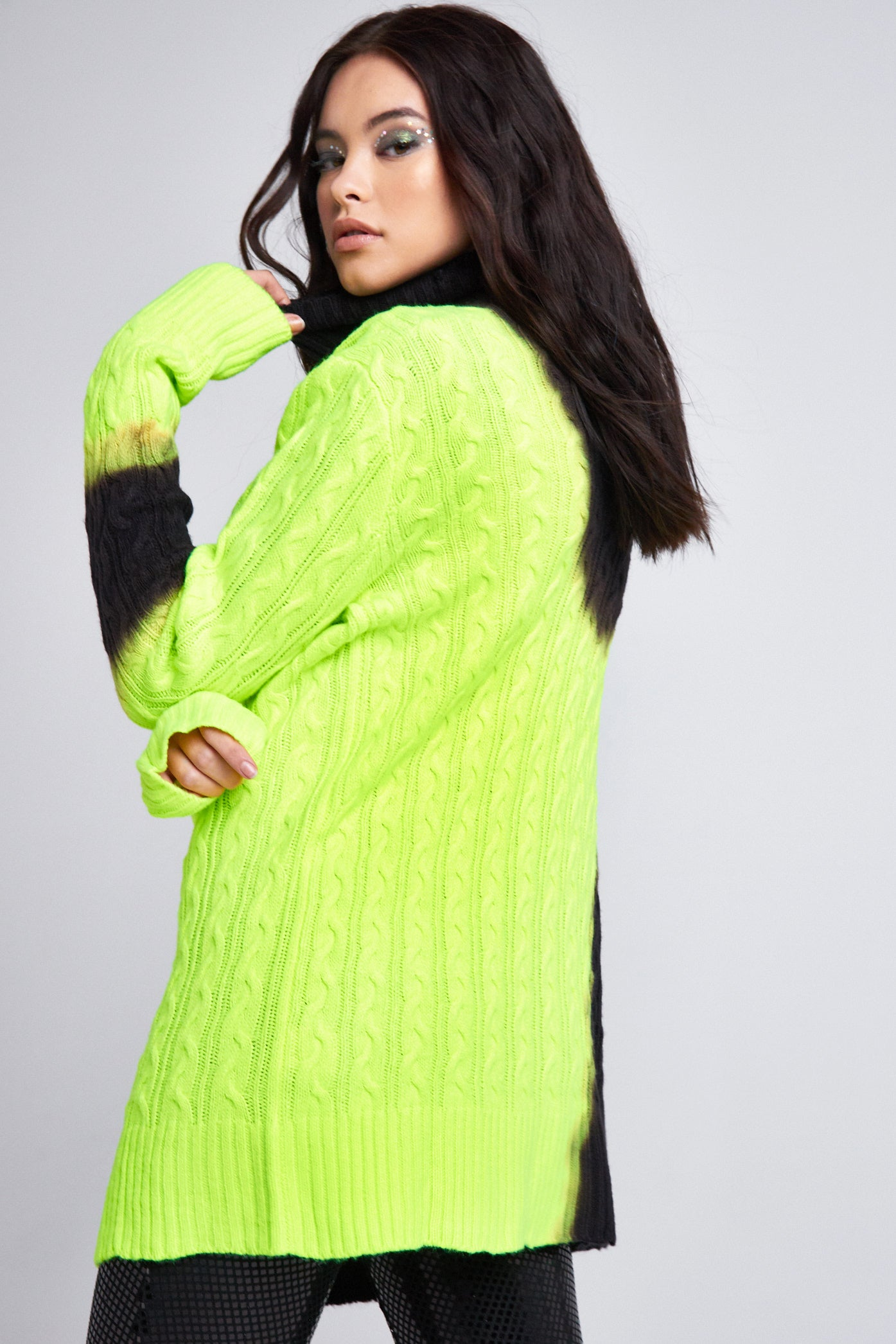 Neon Bleached Turtle Neck Jumper Dress