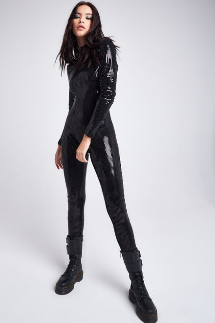 Black Sequin Long Sleeve Catsuit With Skull Strap Detail