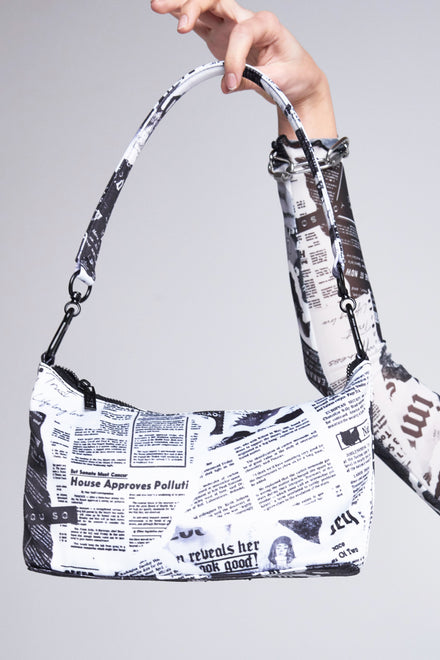 Black & White Newspaper Print Shoulder Bag