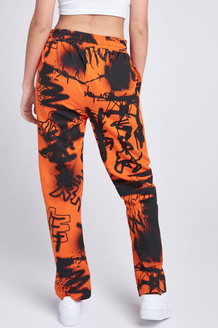 Orange & Black Graffiti Print Joggers