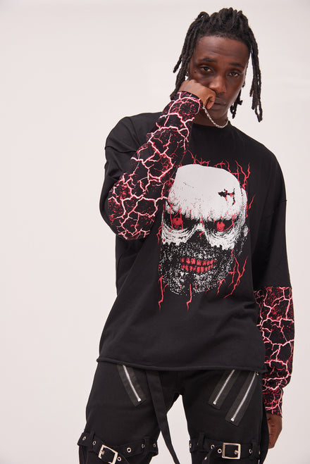 Skull Print Anarchy Long Sleeve T-shirt