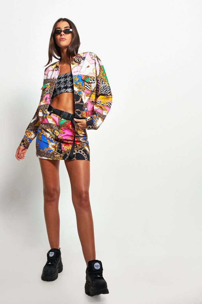 Cropped Printed Denim Jacket Mixed Scarf Print