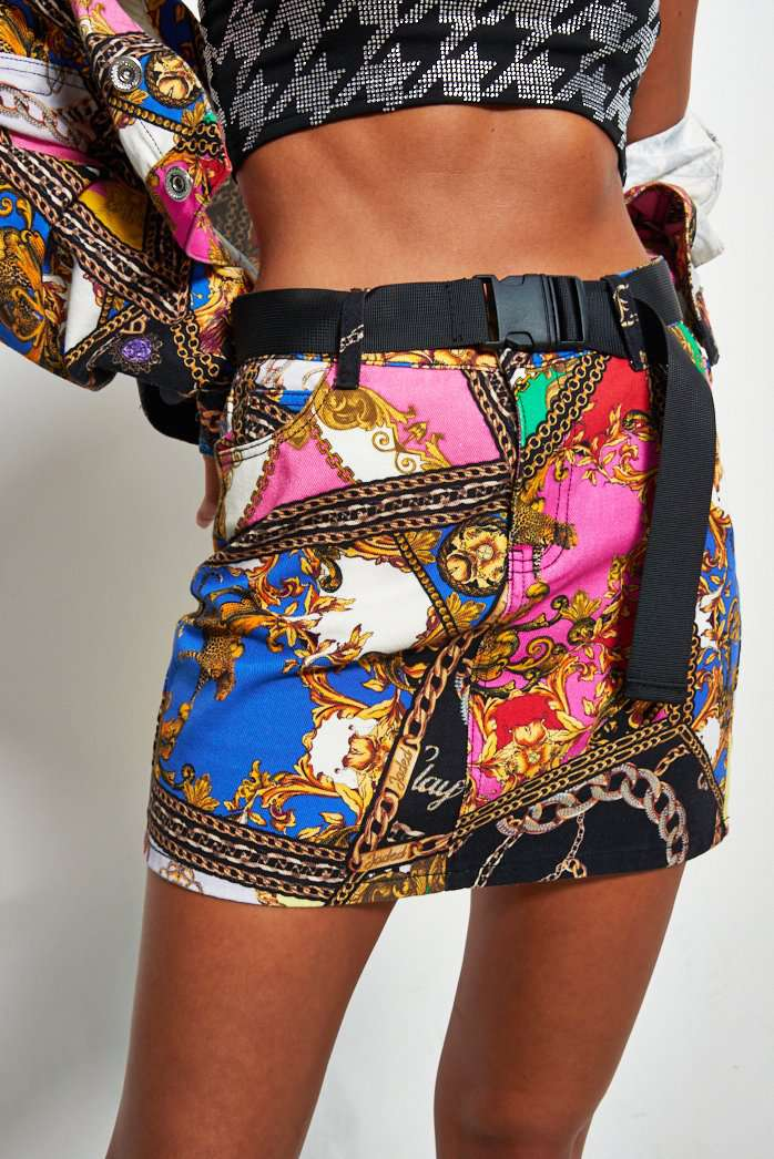 Printed Denim Mini Skirt Mixed Scarf Print